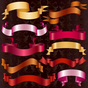 decorative ribbon templates shiny modern 3d sketch