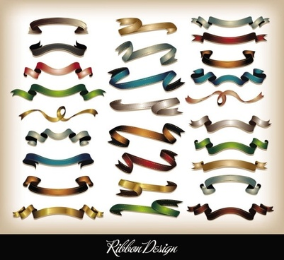 all kinds of ribbons 04 vector