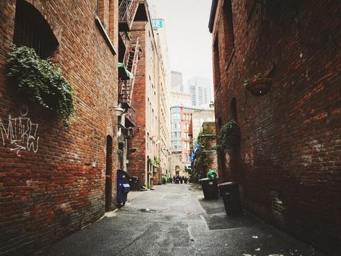 alley architecture brick broken building city corner