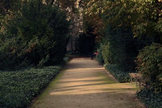 alley autumn bench countryside fall forest garden