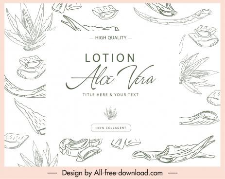 aloe vera cosmetic label classic handdrawn decor