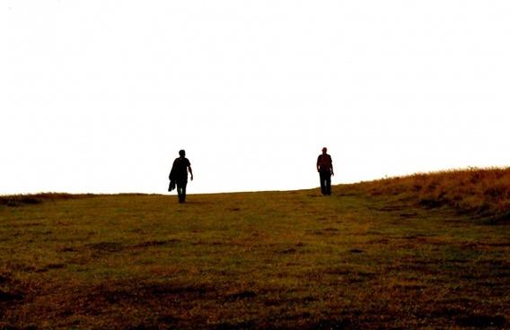 alone animal backlit cow cowboy field golf grass