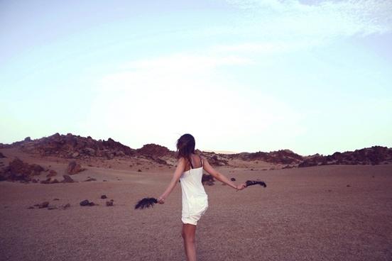 alone beach camel child desert dry girl landscape