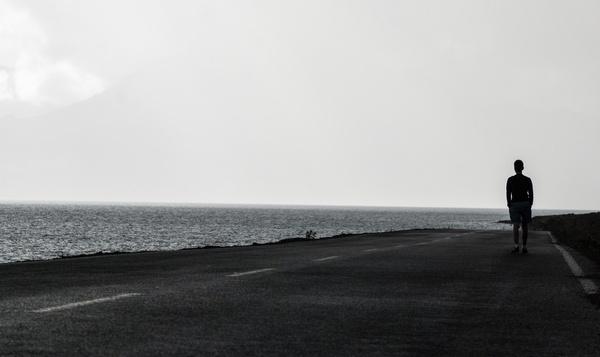 alone beach coast fog island landscape lonely mist