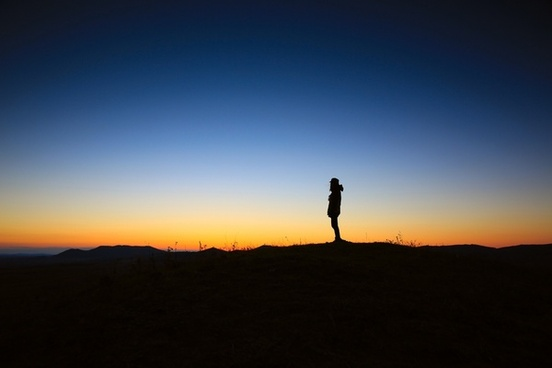 alone looking person rural silhouette sky standing