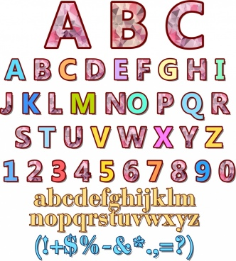 alphabet backdrop colorful polygonal decoration