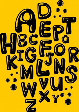 alphabet background black capital texts black yellow design
