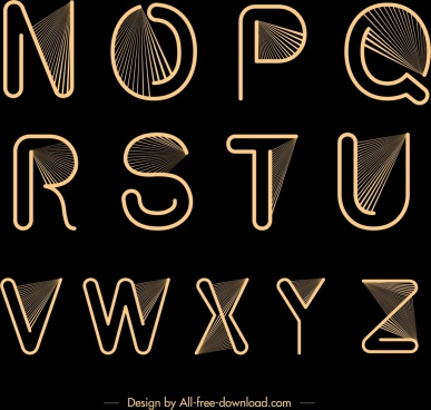 alphabet background black yellow design rays decor