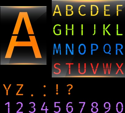alphabet background colorful capital texts decoration