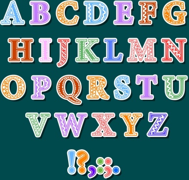 alphabet background colorful texts sign ornament