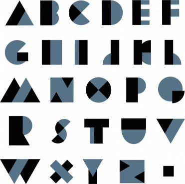 alphabet background dark black blue decor modern characters