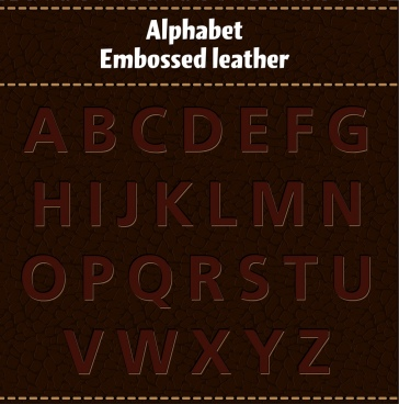 alphabet background dark leather design
