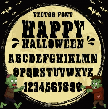 alphabet background halloween theme evil bat icons decor