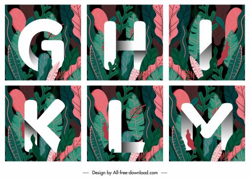 alphabet background templates colorful classic leaves decor