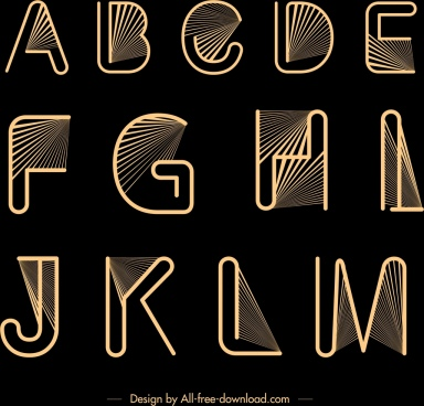 alphabet background yellow lines rays decor