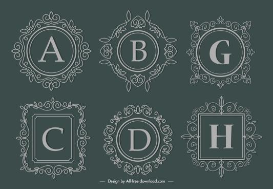 alphabet border templates elegant european retro seamless decor
