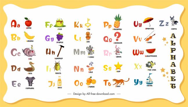 alphabet education template colorful texts emblems decor