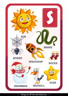 alphabet education template s letter emblems sketch
