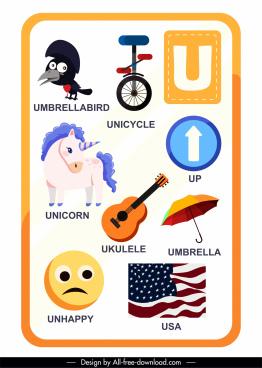 alphabet education template u letter sketch colorful symbols
