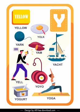 alphabet education template y letter symbols sketch