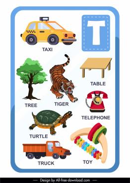 alphabet educational template t letter colorful symbols sketch