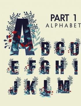 alphabet icons capital lettering design flowers decoration