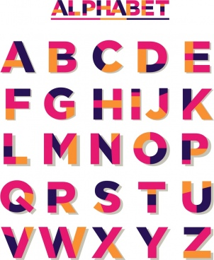 alphabet icons collection colorful capital lettering design