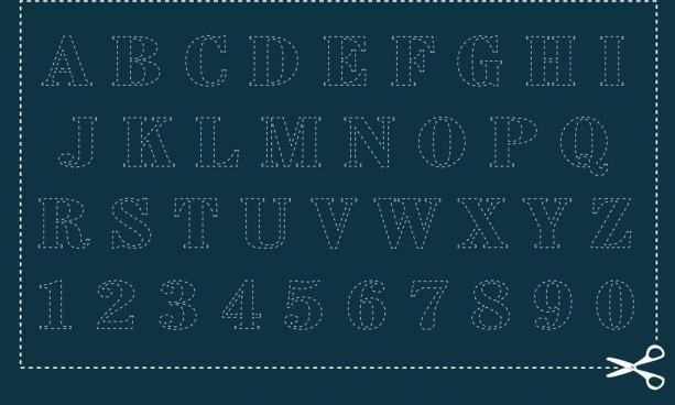 alphabet layout discontinuous design cutting paper decor