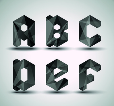 alphabet letter black geometry vector set