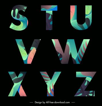 alphabet lettering background dark design colorful leaves decor