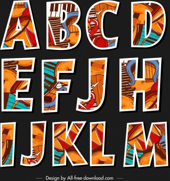 alphabet letters icons flat classical colorful instruments decor