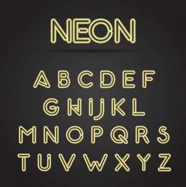 alphabet neon sign icons yellow capital lettering design