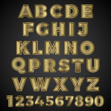 alphabet numbering icons yellow shiny design