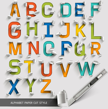 alphabet paper cut creative vector