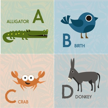alphabet sets design with color cute animals