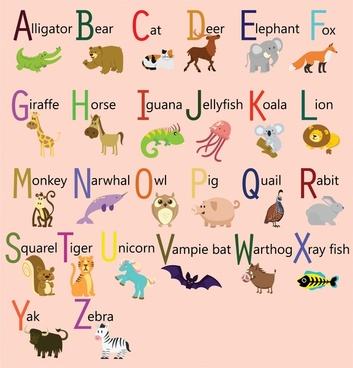 alphabet sets design with cute cartoon animals