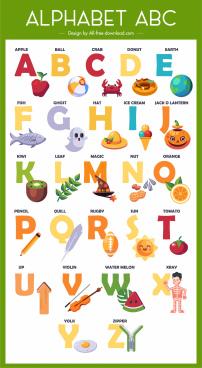 alphabet teaching template colorful texts symbols sketch