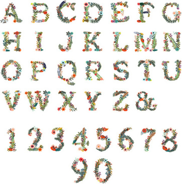 alphabet with number and flower vector