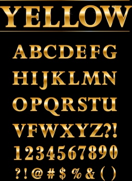alphabets background shiny yellow design