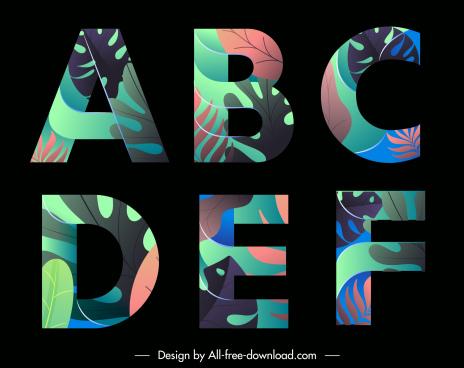 alphabets icons colorful leaves decor dark design