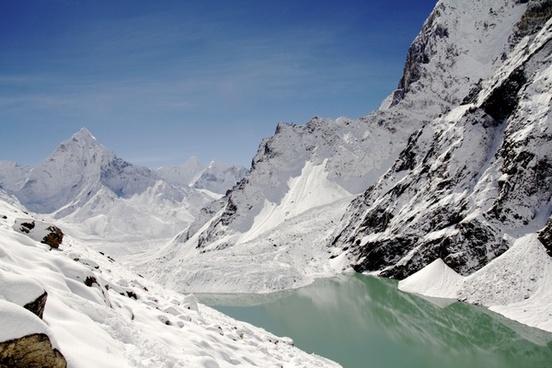 alps climbing cold frozen glacier high hiking