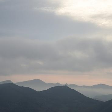 alps cloud evening fog forest hill landscape mist