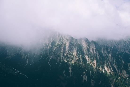 alps fog foggy forest lake landscape mist morning