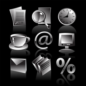 business icons modern shiny black white 3d decor