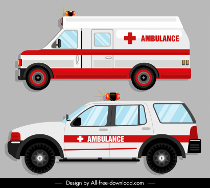 ambulance icons modern flat sketch