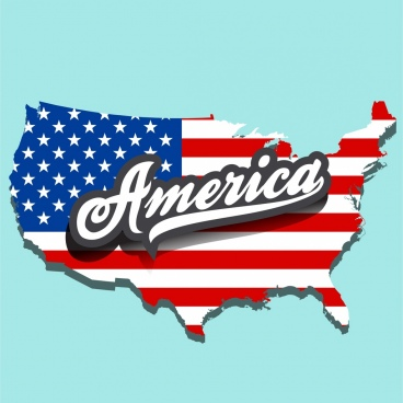 america advertising banner flag map text decoration