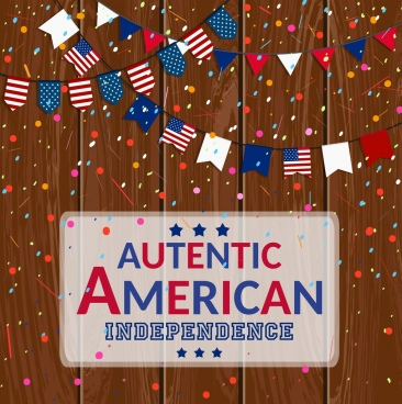 america background colorful flags ribbons confetti decoration