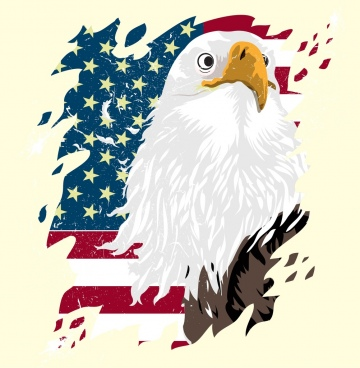 america background flag eagle icons multicolored decor