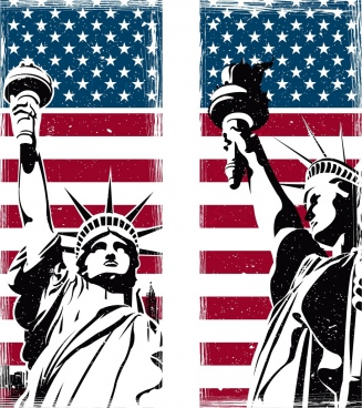 america background flag liberty statue icons retro design