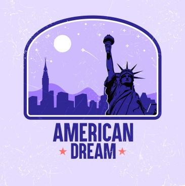 america banner liberty statue icon violet decor